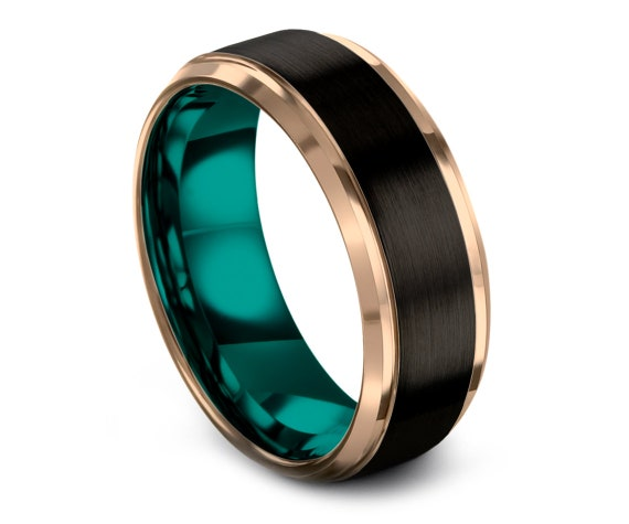 Black and Teal Tungsten Band Beveled,Tungsten Wedding Band Ring,Rose Gold Tungsten Carbide 8mm,Promise Ring,Comfort Fit Ring,Couple Gifts