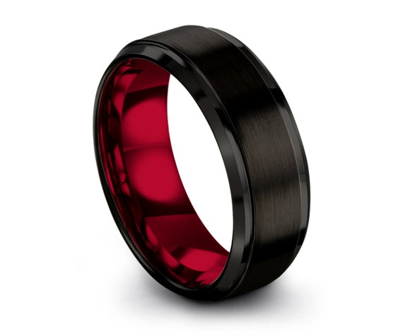 Mens Wedding Band Red, Black Tungsten Ring 8mm, Wedding Ring, Engagement Ring, Promise Ring, Gifts for Her, Gifts for Him, Personalized