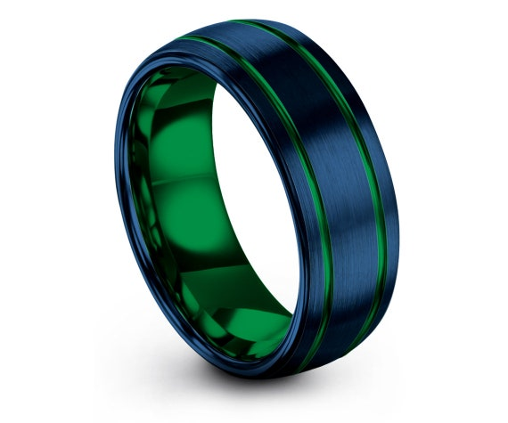 Domed Tungsten Wedding Bands, Double Line Green Tungsten Band, Tungsten Ring Men 8mm, Brushed Blue Band, Engraved Rings, His and Hers Rings