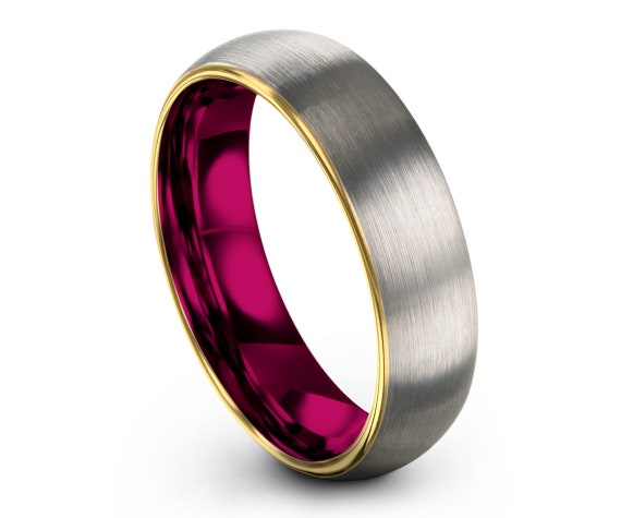 His and Hers Rings Silver Brushed | Men Wedding Band Pink | Gold Wedding Tungsten Ring | Personalized Gifts | Infinity Ring | Custom Gifts