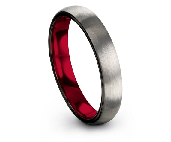 Brushed Silver Wedding Band Domed, Inside Red Rings, Black Polish Edge, Engagement Gifts, Unisex Tungsten Band, Wedding favors, Fit Rings