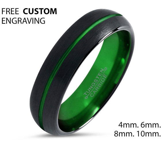 Black Green Tungsten Ring, Wedding Band, Mens Wedding Band, Tungsten Ring, Wedding Ring, 4mm Tungsten Wedding Band, Promise Ring