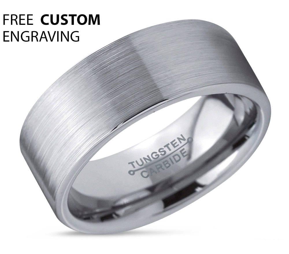 Mens Wedding Band Tungsten Ring Silver 6mm Wedding Ring