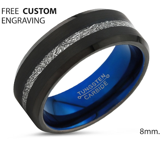 Black Meteorite Beveled Tungsten Ring for Men & Women | Unique Blue Interior Personalized Wedding Band | Promise Engagement Gift
