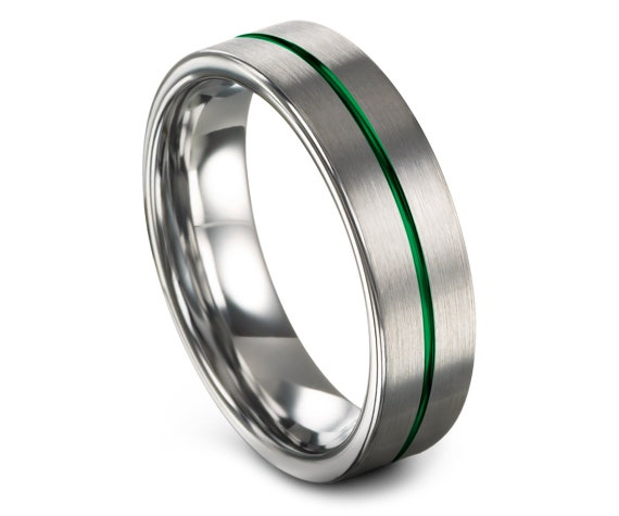 Round Cut Tungsten Ring | Brushed Silver Tungsten Rings | Center Engraved Ring Green | Tungsten Engagement Ring | Gift for Fathers Day
