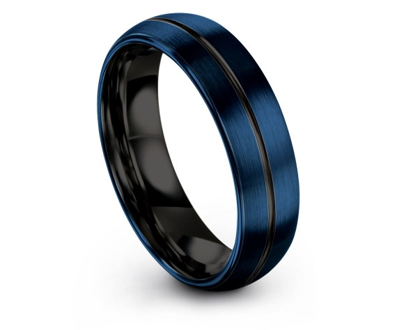 Personalized Jewelry Black, Blue Domed Tungsten Wedding Band, Mens Ring, Engraved Ring, His and Hers Rings, Gift For Her, Mom Gifts
