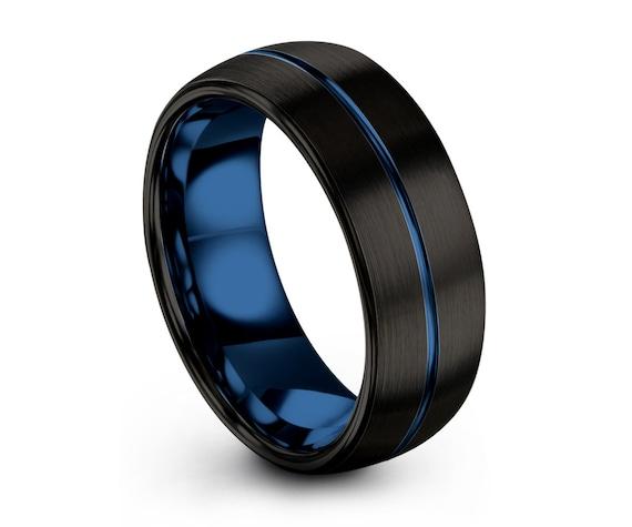 Tungsten Ring Mens Black Blue Wedding Band Tungsten Ring Tungsten Carbide 8mm 4mm 6mm Tungsten Man Wedding Male Women Anniversary Matching