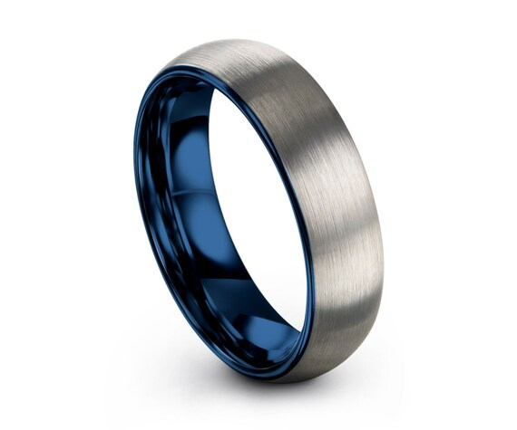 Mens Wedding Band Brushed Silver, Tungsten Ring Blue 6mm, Wedding Ring, Engagement Ring, Promise Ring, Rings for Men, Rings for Women