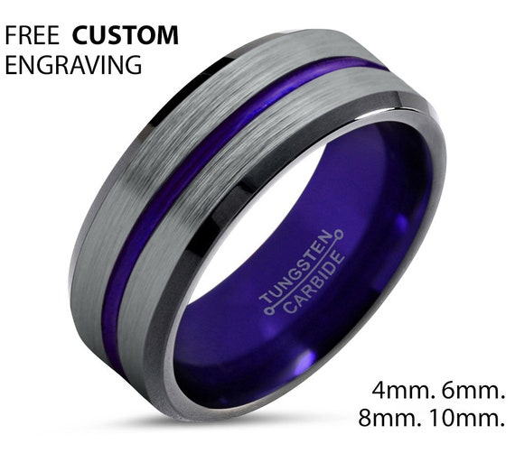 Personalized Purple Tungsten Wedding Band for Men & Women | Unique Promise Ring | Engagement Anniversary or Best Friend Gift