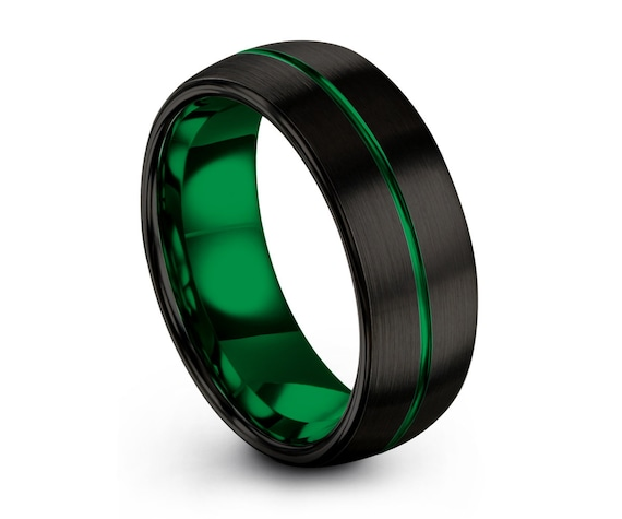 Mens Wedding Band Green, Tungsten Ring Black 8mm, Wedding Ring, Engagement Ring, Promise Ring, Personalized, Gifts for Him, Mens Ring