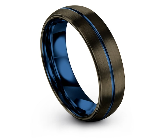 Matching Ring GUNMETAL   Domed Tungsten Wedding Ring   Mens Gifts   Center Blue Engraving Ring   Anniversary Ring   6mm 8mm   Perfect Gifts