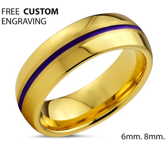 18k Gold Mens Ring | Tungsten Wedding Band Purple | Unisex Promise Ring | Free Personalized Engraving | Hypoallergenic