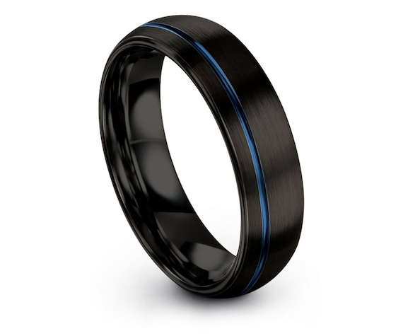 Black Wedding Tungsten Ring Domed, Engagement Ring, Blue Engraved Line, Promise Ring, Rings for Men, Minimalist Ring, Best Friend Gifts