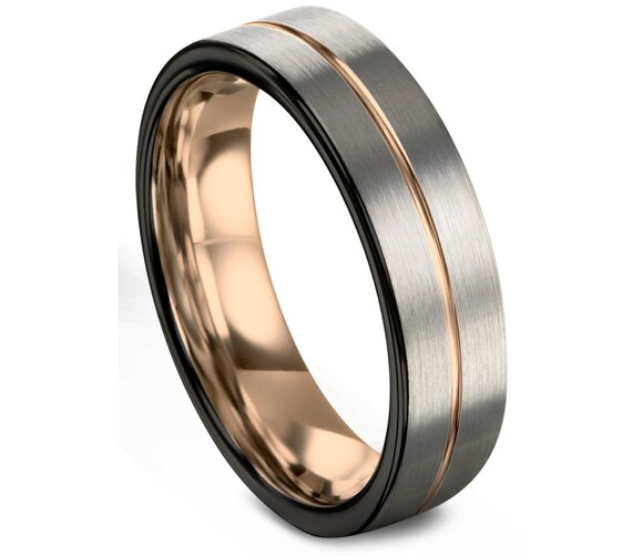 Brushed Silver Black Tungsten Ring Rose Gold Wedding Band Ring Tungsten Carbide 9mm 18K Tungsten Ring Man Male Women Anniversary Matching