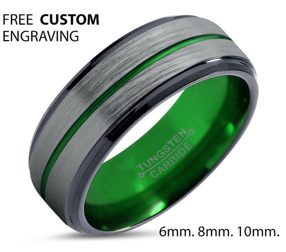 Green Tungsten Unisex Wedding Band With Green Line, 8mm Ring, Wedding Ring, Engagement Ring, Promise Ring, Personalized Ring, Gift Idea