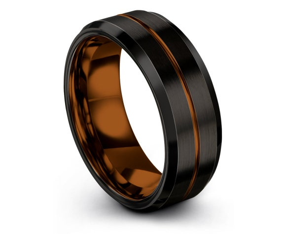 Brushed Black Tungsten Carbide Band 8mm   Unisex Wedding Band   Copper Tungsten Ring Man   Engraved Ring   Womens Ring   Matching Ring