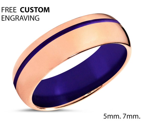 Rose Gold Polished Tungsten Wedding Band With Purple - Unisex Wedding Band for Men & Women - Free Custom Personalized Engraving - 5mm, 7mm