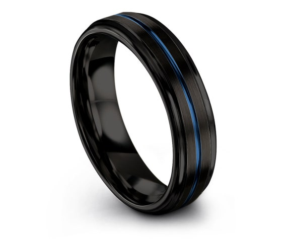 Engagement Gift, Mens Black Blue Rings, Tungsten Engagement Ring, Something Gift Idea, Tungsten 6mm Ring, Thin Line Blue Ring, Gift For Her