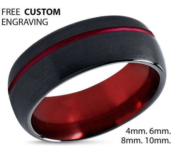 Mens Wedding Band Red, Black Tungsten Ring 8mm, Wedding Ring, Engagement Ring, Promise Ring, Personalized, Gifts for Men, Mens Ring