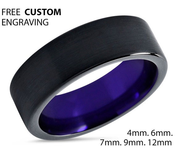 Mens Wedding Band Purple, Black Wedding Ring, Tungsten Ring 7mm, Engagement Ring, Promise Ring, Personalized, Rings for Men, Rings for Women