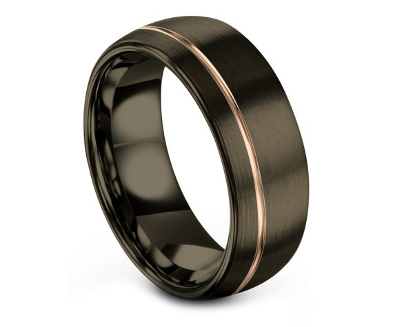 Domed 8MM Tungsten Wedding Band Gunmetal, Men Women Wedding Band, Tungsten Engagement Ring, 18K Rose Gold, His and Hers, Free Shipping