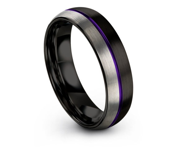 Domed Silver Tungsten Wedding Band,Comfort Fit,Mens Black Ring,Purple Engraved Jewelry,Tungsten Carbide Band,Promise Ring,Gifts For Her