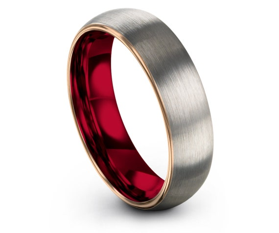 Domed Wedding Band Silver   Wedding Band Tungsten Women   Tungsten Carbide Ring Red   18K Rose Gold   His and Hers Wedding Ring Set