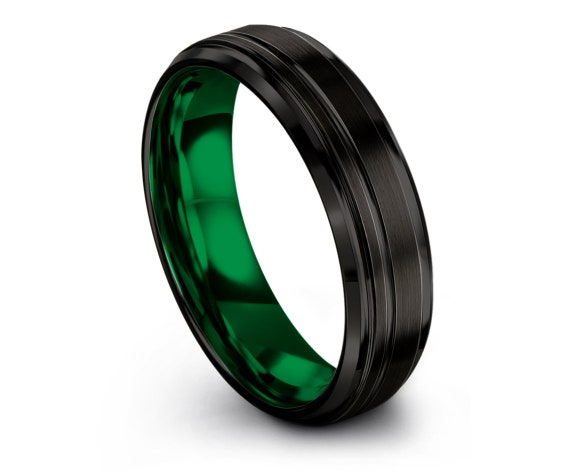 Wedding Gifts, Matching Wedding Bands, Engraved Ring, Black Rings, Wedding Band Tungsten, Green Rings for Women, Custom, 4mm 6mm 8mm 10mm