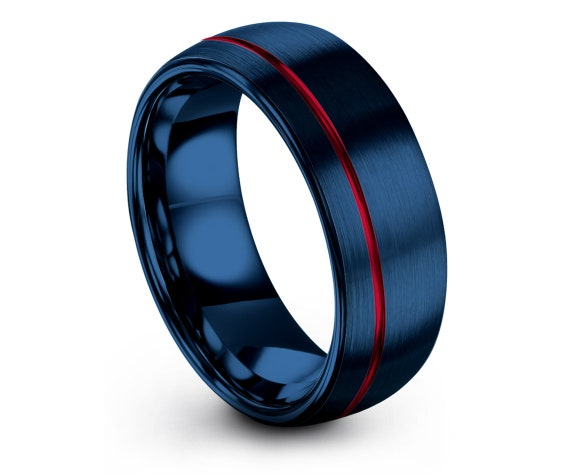 Mens Engagement Gifts   Blue Tungsten Band   Wedding Gifts   Promise Ring   Offset Line Engraving Red   Personalized Ring   Gifts for Him