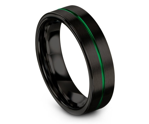 Custom Engraving Wedding Band Green,Tungsten Ring Black,His and Hers Wedding Rings,Tungsten Ring 6mm,Couples Ring,Size 8 Ring,Sister Gift