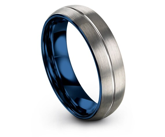 Domed Wedding Band Silver - Mens Gifts - His and Hers - Blue Tungsten Ring 6mm - Center Line Engraving - Custom Rings - Unique Gifts For Her