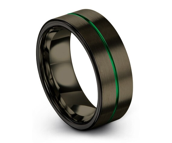 Black Gunmetal Tungsten Ring, Green Wedding Band, Tungsten Carbide 9mm, Mens, Wedding, Women, Anniversary, Engagement, Promise Ring