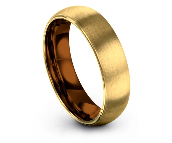 Domed Yellow Gold Tungsten Band Mens, 4mm 6mm 8mm 10mm Tungsten Rings, Anniversary Gifts, Gold Jewelry, 18K Gold Rings, Gifts for Her