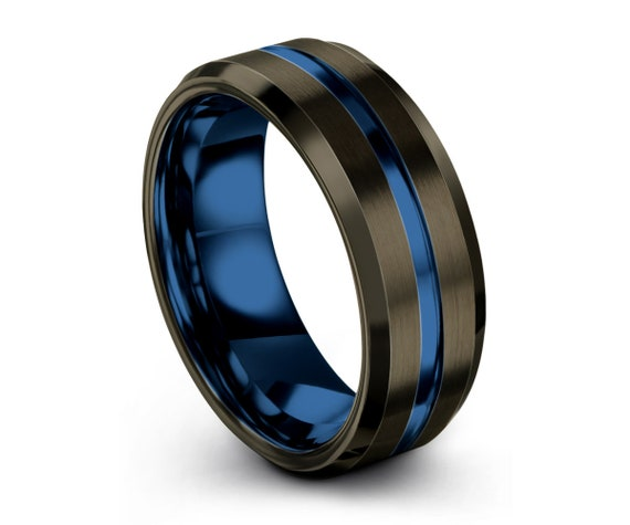 Gunmetal and Blue Tungsten Ring   Stylish Unique Wedding Band for Men & Women   Promise Ring   Personalized Gift