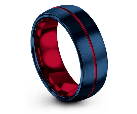 Matching Ring, His and Hers Wedding Band Set, Domed Blue Tungsten Carbide Ring 6mm 8mm, Red Engraved Ring, First Anniversary Gifts, Custom