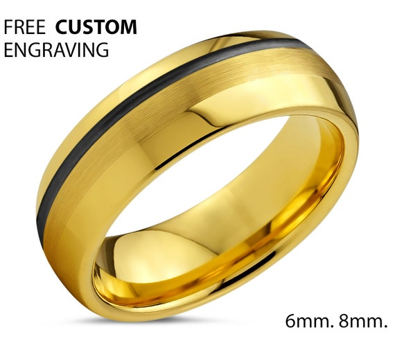 Unique 18k Yellow Gold with Black Offset Line Wedding Ring | Free Custom Engraving | Perfect Gift Idea | Free Shipping