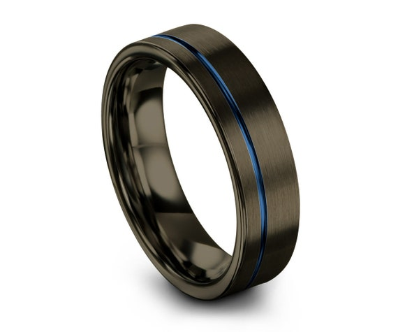 Gunmetal Black Mens Wedding Band   Blue Line Tungsten Carbide Ring 6mm, or 8mm available   His or Her with Fast Free Shipping