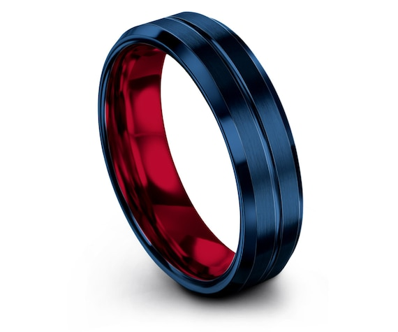 Mens Gift For Mothers, Brushed Blue Wedding Band, Red Beveled Tungsten Carbide Ring 6MM, His and Hers Rings, Center Engraved Ring, Custom