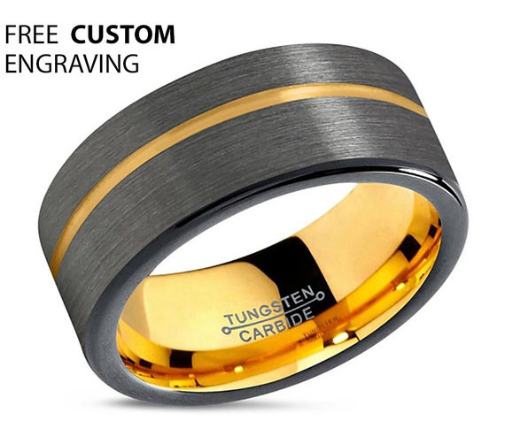 Gold Wedding Band, Brushed Tungsten Ring, Gunmetal, Engagement, Rings for Men, Rings for Women, Anniversary, Wedding, Promise Ring