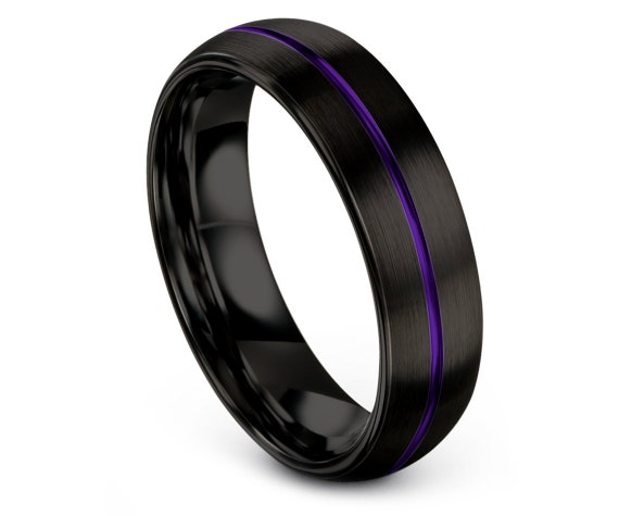 Mens Wedding Band Ring Black Domed,His and Hers,Purple Tungsten Ring,Engraved Ring,Unisex Anniversary Gift,Engagement Band,Gifts For Father