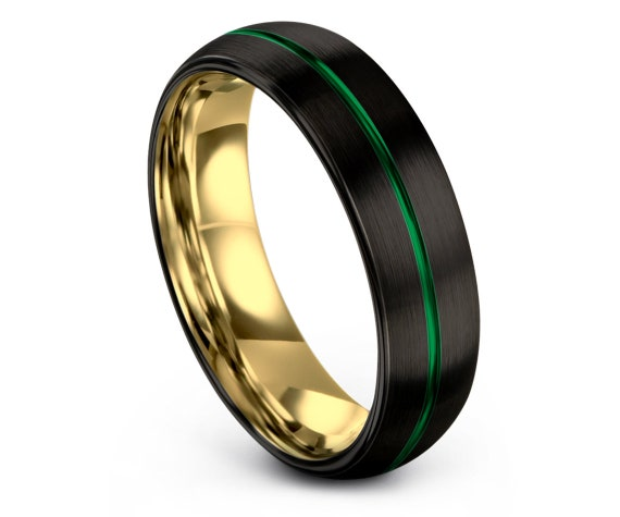 Domed Black Tungsten Wedding Band,Tungsten Carbide Wedding Band 8mm, Center Line Engraving Green Wedding Band, Gold Jewelry,Promise Ring