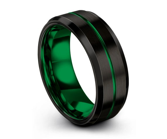 Mens Wedding Band Green, Tungsten Ring Black 8mm, Wedding Ring, Engagement Ring, Promise ring, Rings for Men, Rings for Women, Black Ring