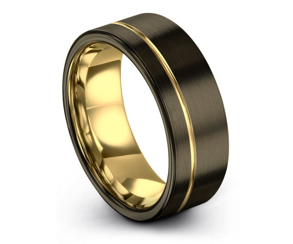Tungsten Wedding Band   Gunmetal Tungsten Carbide 8mm   Men's Tungsten Ring   Off-Center Line Gold Ring   His and Hers Rings   Couple Rings