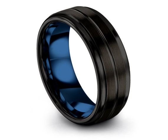 Gifts For Mom   Tungsten Wedding Band   Brushed Black Tungsten Ring   Unique Gifts   Center Engraved Ring   Promise Ring   All Size 4-15