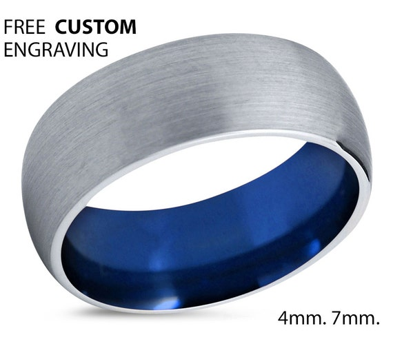 Blue Tungsten Ring Mens Silver Grey Wedding Band Tungsten Ring Tungsten Carbide 7mm Tungsten Man Wedding Male Women Anniversary Matching