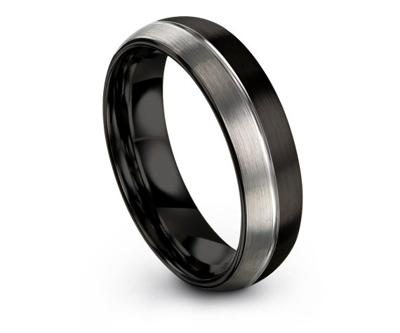 Domed Tungsten Ring,Black And Silver Ring 6mm,Black Tungsten wedding Ring Set,Half Black Ring,Engraving Line Silver Ring,Matching Ring