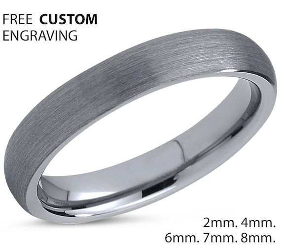 Mens Wedding Band, Brushed Silver Tungsten Ring 4mm, Wedding Ring, Engagement Ring, Promise Ring, Personalized, Gifts for Her, Gifts for Him