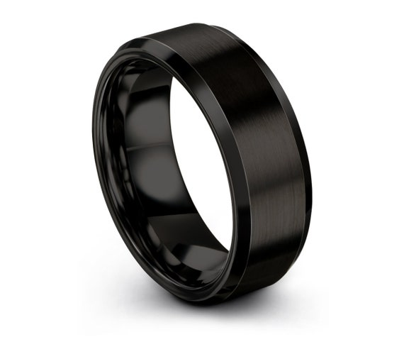 Black Beveled Tungsten Ring, Wedding Band, Tungsten Carbide 8mm, Mens, Engagement, Women, Wedding, Gift, Custom, Promise Ring
