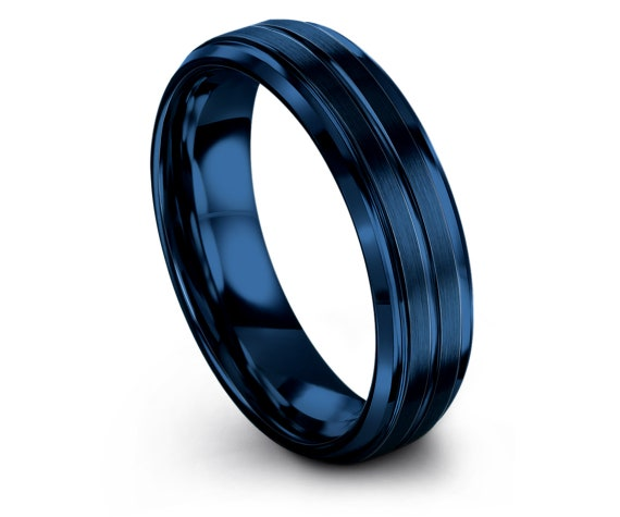 His and Hers Rings,Blue Tungsten Ring Men,Unique Gifts,Blue Brushed in Center Engraving Ring,Engagement Gifts,Sister Birthday Gifts,Gifts