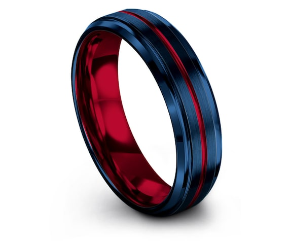 Luxury Wedding Rings Set,Promise Ring,Red and Blue,Red Tungsten Ring 6mm 8mm,Center Line Engraving,Custom Ring,Gifts For Her,Free Shipping